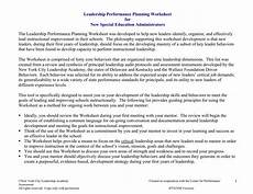 leadership performance planning worksheet for new special education administrators