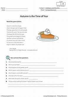 poetry comprehension exercises with answers 25540 comprehension autumn is the time of year