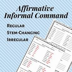 commands worksheet with answers 18713 affirmative informal t 250 command worksheet by senora novales tpt
