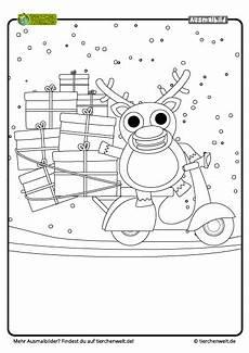 Kostenlose Malvorlagen Weihnachten Quiz Malvorlage Weihnachten Rentier Scooter