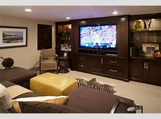 Neutral Media Room With Custom TV Cabinet Feels Masculine