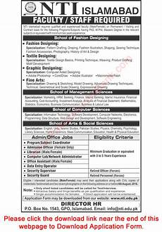 national textile institute islamabad 2016 july august nti application form teaching
