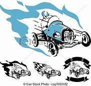 Vector Illustration Of Vintage Racing Car