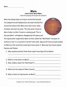 mars planet worksheet mars comprehension