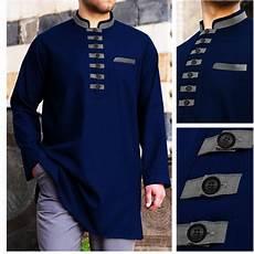 jual baju koko akhtar navy blue muslim pria brand distro