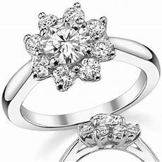 brilliant flower shaped moissanite engagement ring moissaniteco com fine moissanite