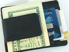 Mens Wallet Black Genuine Leather Magnetic Money Clip ID