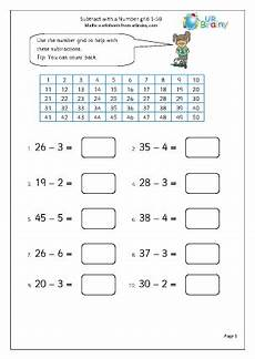 subtraction worksheets up to 50 10294 subtract with a number grid 1 50 subtraction maths worksheets for year 1 age 5 6
