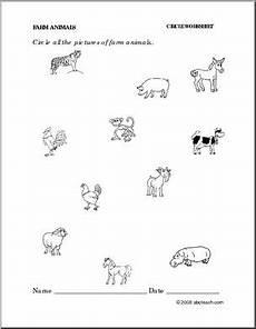 animals worksheets for primary 13865 worksheet farm animals circle preschool primary b w abcteach
