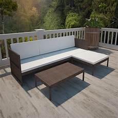 lounge set garten 3 tlg garten lounge set mit auflagen poly rattan braun