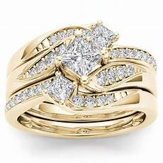 shop de couer 14k yellow gold 1ct tdw diamond bridal ring