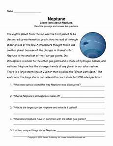 neptune planet worksheet neptune comprehension school solar system space