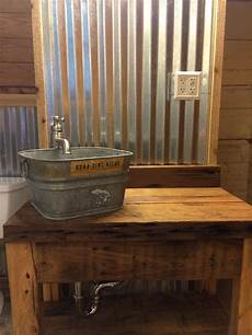 Bathroom Ideas Using Corrugated Metal by Corrugated Tin Walls With Cypress Vanity And Galvanized
