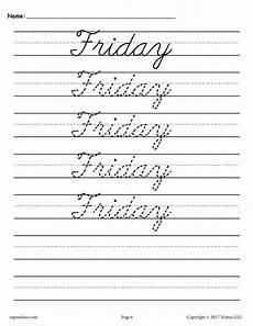 cursive handwriting worksheets days of the week 21350 7 free days of the week cursive handwriting worksheets understandinghandwritinganalysis