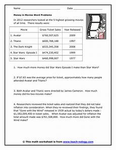 money in movies word problems