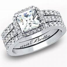 hot 3 pcs women princess cut sterling silver bridal wedding engagement ring set ebay