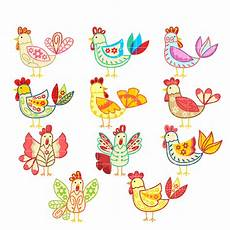 Clipart For Digitizing flowery chicken set semi exclusive clip set for