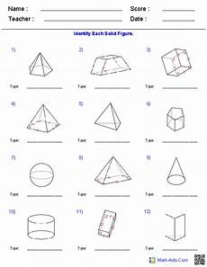 identifying solid figures worksheets geometry worksheets volume worksheets 7th grade math