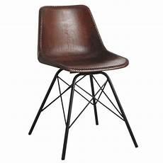 chaise en cuir salle a manger chaise salle 224 manger en cuir marron et m 233 tal achat