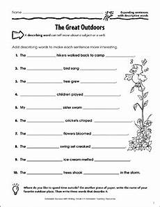 the great outdoors expanding sentences with descriptive words printable skills sheets