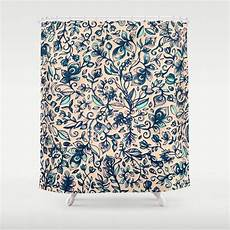 Navy And Teal Curtains by Teal Garden Floral Doodle Pattern In Navy Blue
