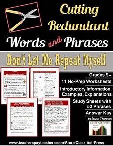 grammar redundancy worksheets 24955 writing eliminating redundancy worksheets by class act press