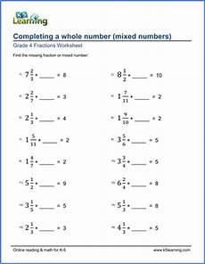 fraction worksheets year 4 4164 grade 4 fraction worksheets completing whole numbers mixed numbers k5 learning