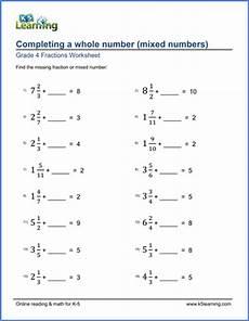 mixed fraction worksheets for grade 6 4256 grade 4 fraction worksheets completing whole numbers mixed numbers k5 learning