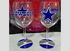 Dallas Cowboys Hand painted wine glass   Etsy