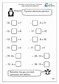 subtraction complete number sentences subtraction maths