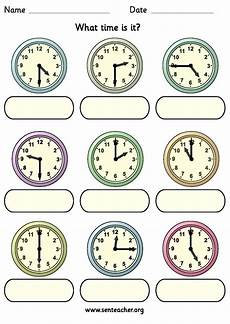 worksheet containing 9 analogue clocks showing o clock half past quarter to and quarter past
