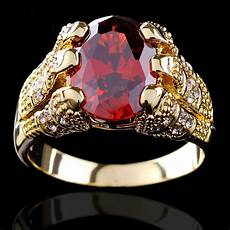 yellow gold filled ruby ring men s 10kt finger rings for man jewelry size 9 10 11 12 high