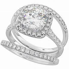 3 pieces cushion cut wedding engagement bridal ring