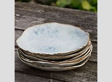 9 inch Dinner Plate, circles in copper and blue. $28.00