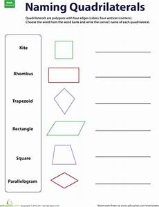 naming quadrilaterals worksheets math and school