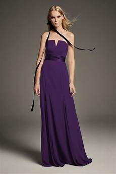 v wire crepe bridesmaid dress with wide satin sash