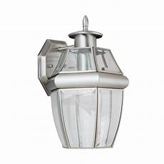 shop sea gull lighting 12 in h brushed nickel outdoor wall light at lowes com