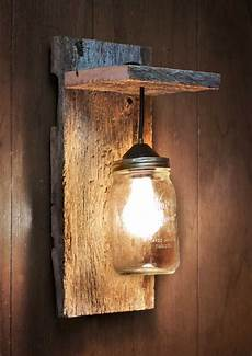 mason jar light wall fixture barnwood wall by grindstonedesign 99 00 ideas for the house