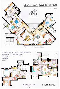 Sitcom Apartment Blueprints by As Seen On Tv Floor Plans From Television Series