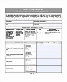 free 8 supplier evaluation forms in pdf