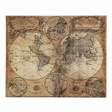 mappemonde antiqued canvas 73 x 93cm maisons du monde