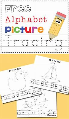 free alphabet picture tracing printables totschooling