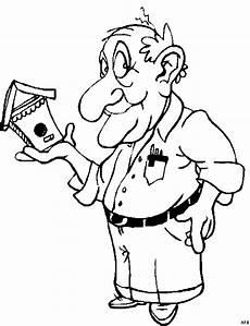 alter mann mit vogelhaus ausmalbild malvorlage comics