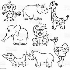 Zootiere Malvorlagen Outlined Zoo Animals Collection Stock Illustration