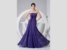 Simple Strapless A Line Chiffon Prom Gown Evening Formal