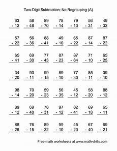 the two digit subtraction with no regrouping 49 questions a math worksheet from the