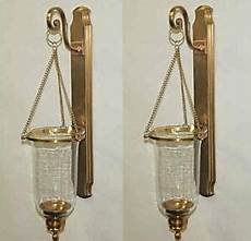 set 2 antique brass clear glass hanging hurricane candle sconce wall s 2 ebay