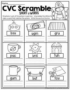 cvc scramble unscramble the cvc words to match the picture kindergarten worksheets