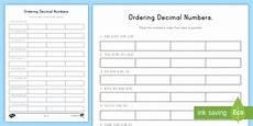 decimal worksheets twinkl 7312 ordering decimal numbers activity made
