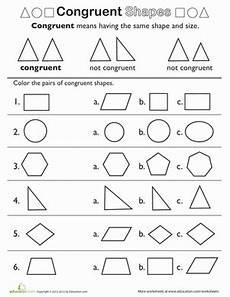 Shape Basics Congruent Shapes Geometry Worksheets 3rd